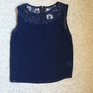 Navy blue sheer sleeveless top with detail